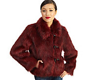 Luxe Rachel Zoe Faux Fur Toggle Coat with Wing Collar - A94293