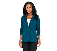 Susan Graver Soho Ponte Boyfriend Style Jacket with Ruched Sleeves - A98093