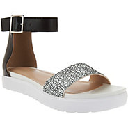 LOGO by Lori Goldstein Leather Ankle Strap Footbed Sandals - A277094
