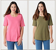 Quacker Factory Golden Tones Set of 2 Elbow Sleeve T-shirts - A278294