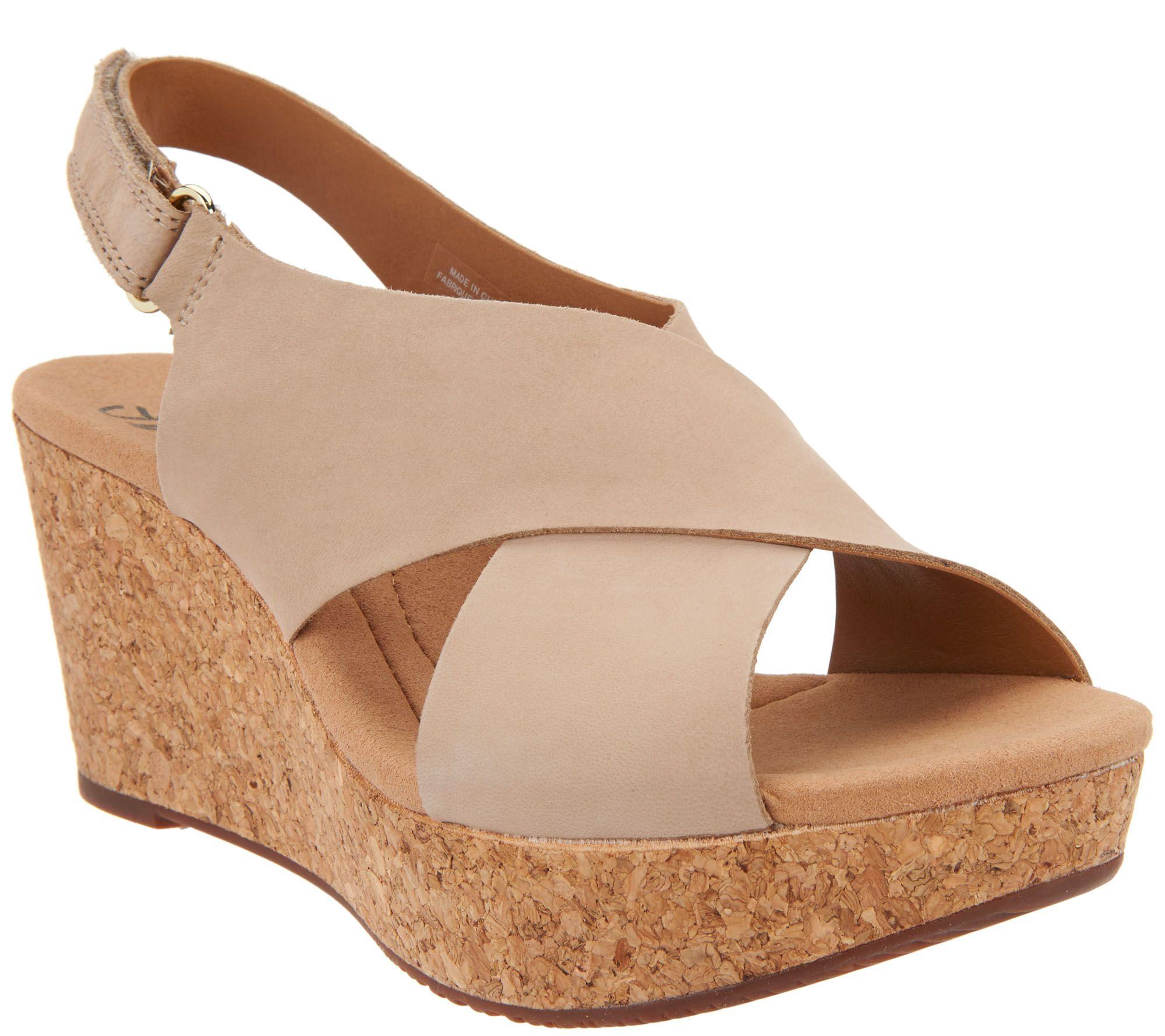 Black sandals belk - Clarks Leather Cork Wedge Sandals Annadel Eirwyn A299094