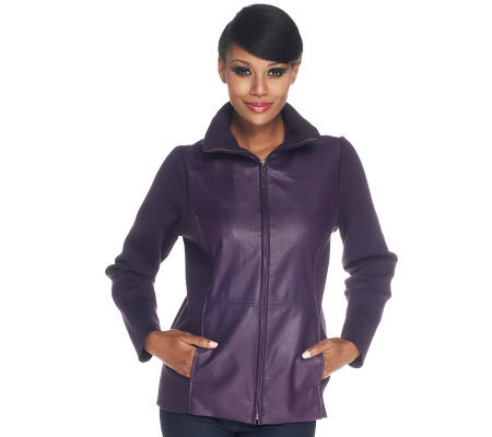 Susan Graver Faux Leather and Stretch Knit Jacket with Zip Front