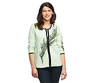 Bob Mackies Botanical Bouquet Zip Front Cardigan - A213095