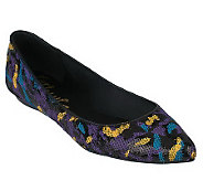 KathyVanZeeland Pointed Toe Ballet Flats with Graffiti Design - A216095