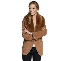 Luxe Rachel Zoe Blazer with Removable Faux Fur Collar and Buttons