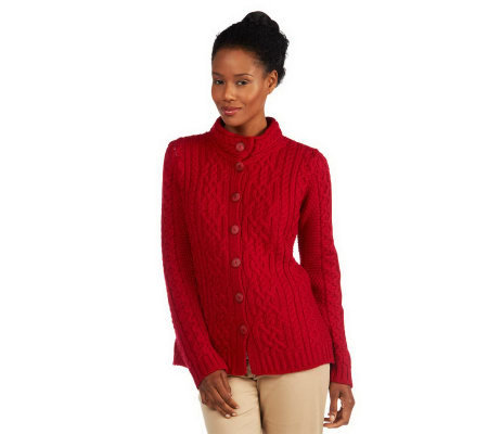 Aran Craft Merino Wool Mandarin Collar Button Front Cardigan
