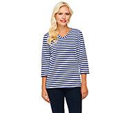 Denim & Co. 3/4 Sleeve V-Neck Striped Knit Top - A231995