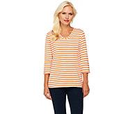 Denim & Co. 3/4 Sleeve V-Neck Striped Knit Top - A231995
