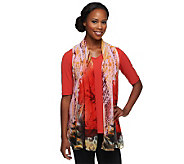 Susan Graver Liquid Knit V-Neck Top with Printed Sheer Chiffon Vest - A233095