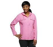 As Is Denim & Co. Long Sleeve Windbreaker Jacket w/Hood - A239495