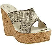 G.I.L.I. Criss-cross Wedge Sandals w/ Gold Toe - Jaqui - A254595