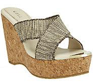 G.I.L.I. Criss-cross Wedge Sandals w/ Gold Toe - Jaqui - A254595