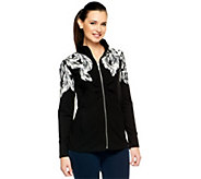As Is Susan Graver French Terry Placement Print Zip Front Jacket - A256295