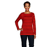 Liz Claiborne New York Essentials Striped Knit Top - A256395
