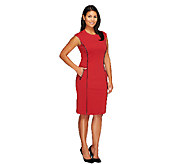 Joan Rivers Petite  Ponte Knit Sheath Dress w/ Faux Leather Trim - A256795
