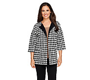 Joan Rivers Houndstooth Statement Coat with 3/4 Sleeve - A256895