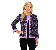 Bob Mackies Placement Print Lace Jacket - A258895