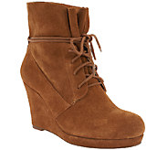 Sole Society Suede Wedge Boots w/Lace Detail - Walker - A259495