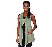 LOGO Lounge by Lori Goldstein French Terry Vest with Tiered Chiffon - A261095