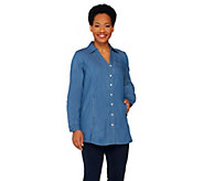 Denim & Co. Stretch Denim Tunic w/ Welt Pockets - A261795