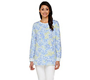 Denim & Co. Active French Terry Floral Printed Sweatshirt - A262595