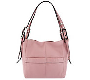 As Is B. Makowsky Leather Snap Top Shopper w/ Shoulder Straps - A263795