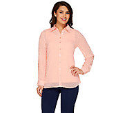 Denim & Co. Swiss Dot Tunic Shirt with Knit Tank Set - A265695