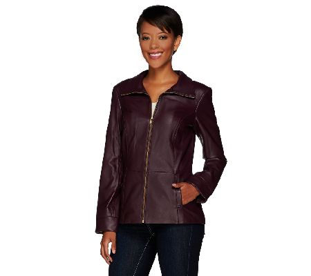 Denim & Co. Zip Front Lamb Leather Jacket with Pockets - A266895