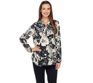 Liz Claiborne New York Rose Print Long Sleeve Blouse