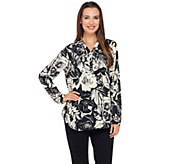 Liz Claiborne New York Rose Print Long Sleeve Blouse - A269195