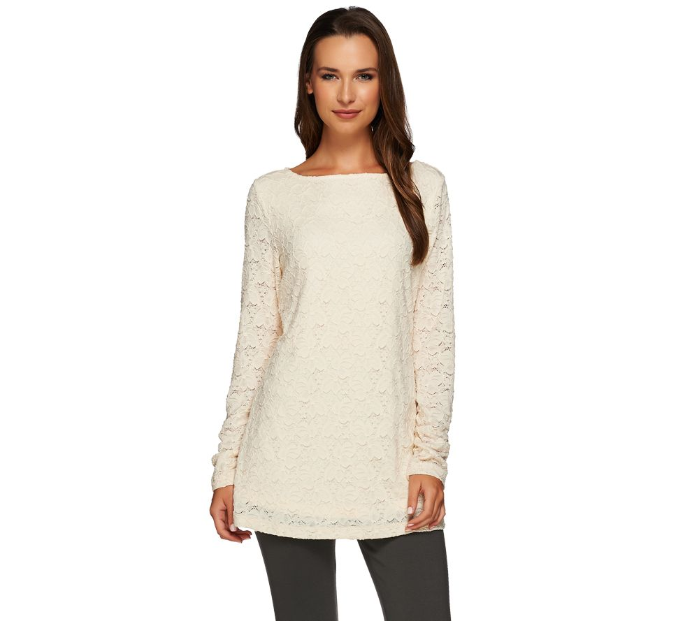 Susan Graver Stretch Lace Bateau Neck Long Sleeve Tunic - A270295