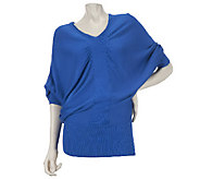 As Is Motto Dolman Sleeve V-Neck Draped Sweater - A272095