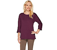 As Is Denim & Co. Essentials 3/4 Sleeve Scoopneck Top w/ Side Slits - A273195