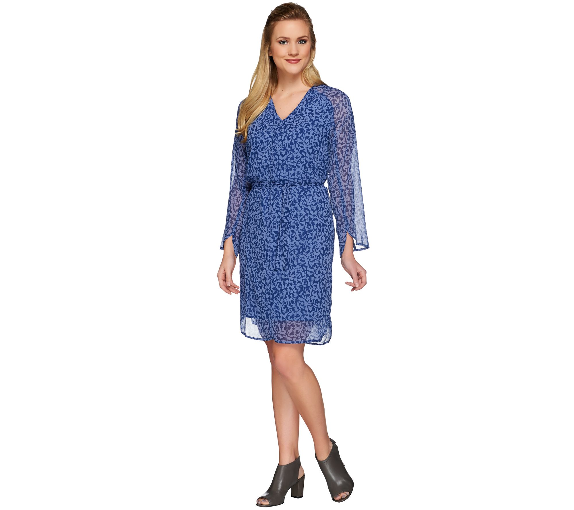 H by Halston Printed V-neck Long Sleeve Woven Dress with Tie