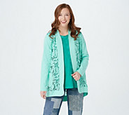 LOGO by Lori Goldstein Open Front Slub Cardigan w/ Lace Detail - A274095
