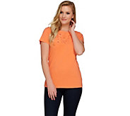 C. Wonder Embroidered Cutout Design Short Sleeve Slub Knit Shirt - A275095