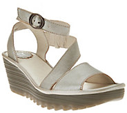 FLY London Leather Asymmetrical Strap Wedge Sandals - Yesk - A275895