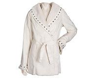 As Is Dennis Basso Faux Suede Shawl Collar Coat w/ Faux Fur Trim - A276995