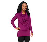 As Is George Simonton Cowl Neck Sweater Knit Top with Blouson Waist - A277195