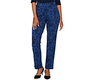 Susan Graver Weekend Printed French Terry Comfort Waist Pants - A279795