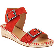 As Is Franco Sarto Suede or Leather Espadrille Sandals - Latin - A286395