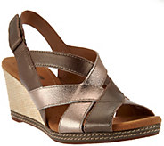 As Is Clarks Leather Cross-strap Wedge Sandals - Helio Coral - A286495