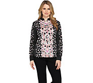 Bob Mackies Printed Button Front Stand Collar Blouse - A286895