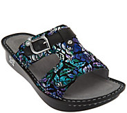 Alegria Leather Adjustable Slide Sandals - Peggy - A287095