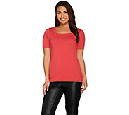 Joan Rivers Short Sleeve Square Neck Sweater - A287595