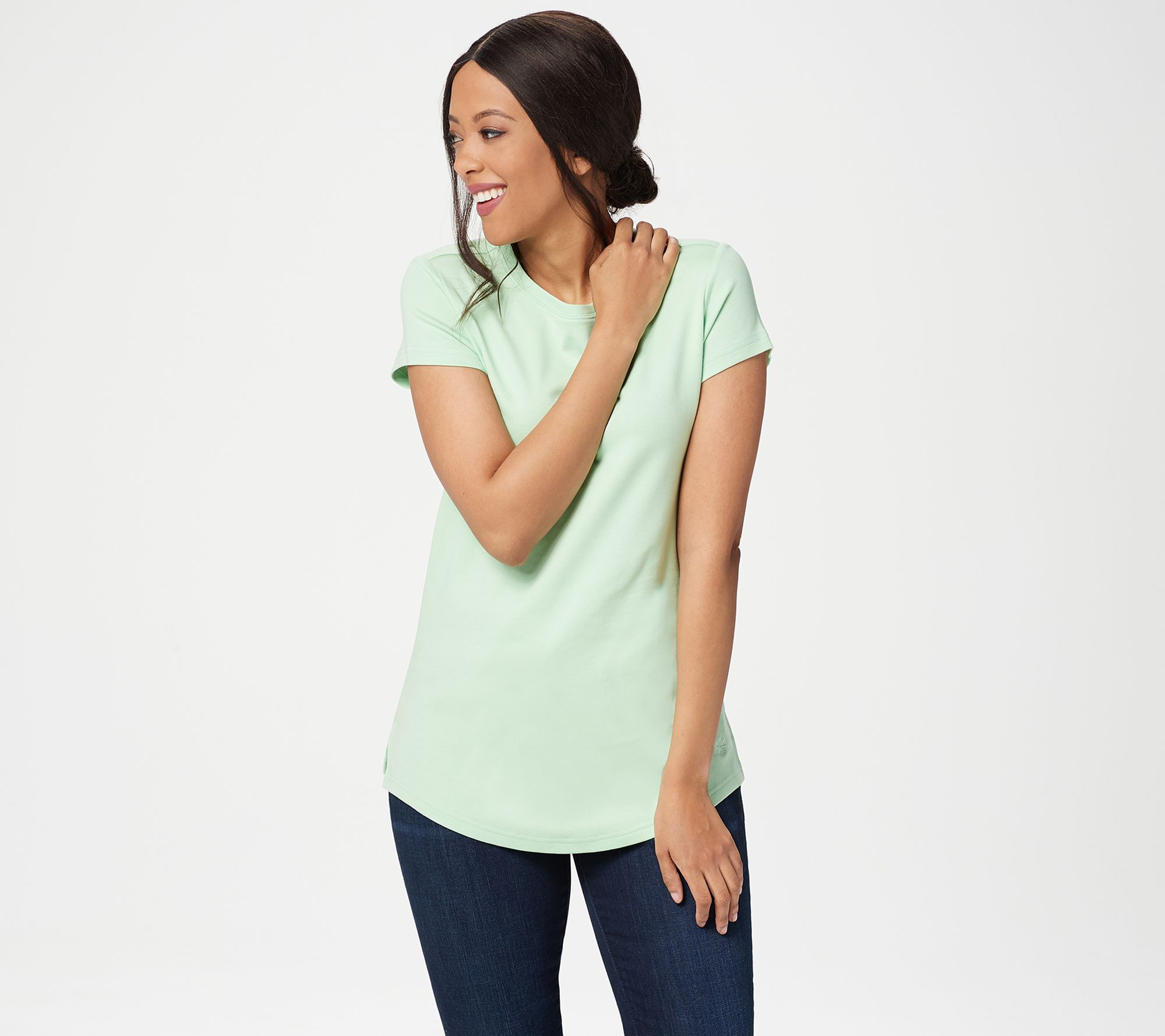 New customer qvc promo code - Isaac Mizrahi Live Essentials Pima Cotton Curved Hem T Shirt A288195