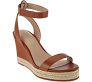 As Is H by Halston Leather Espadrille Wedges - Gene - A288295