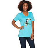 Quacker Factory Tropical Fun Sequin Short Sleeve Knit T-shirt - A289695