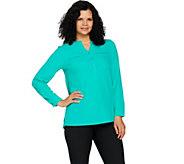 Denim & Co. Long Sleeve Button Front Blouse w/ Crochet Detail - A292495