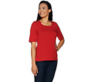 Denim & Co. Essentials Elbow Sleeve Square Neck Knit Top - A292995